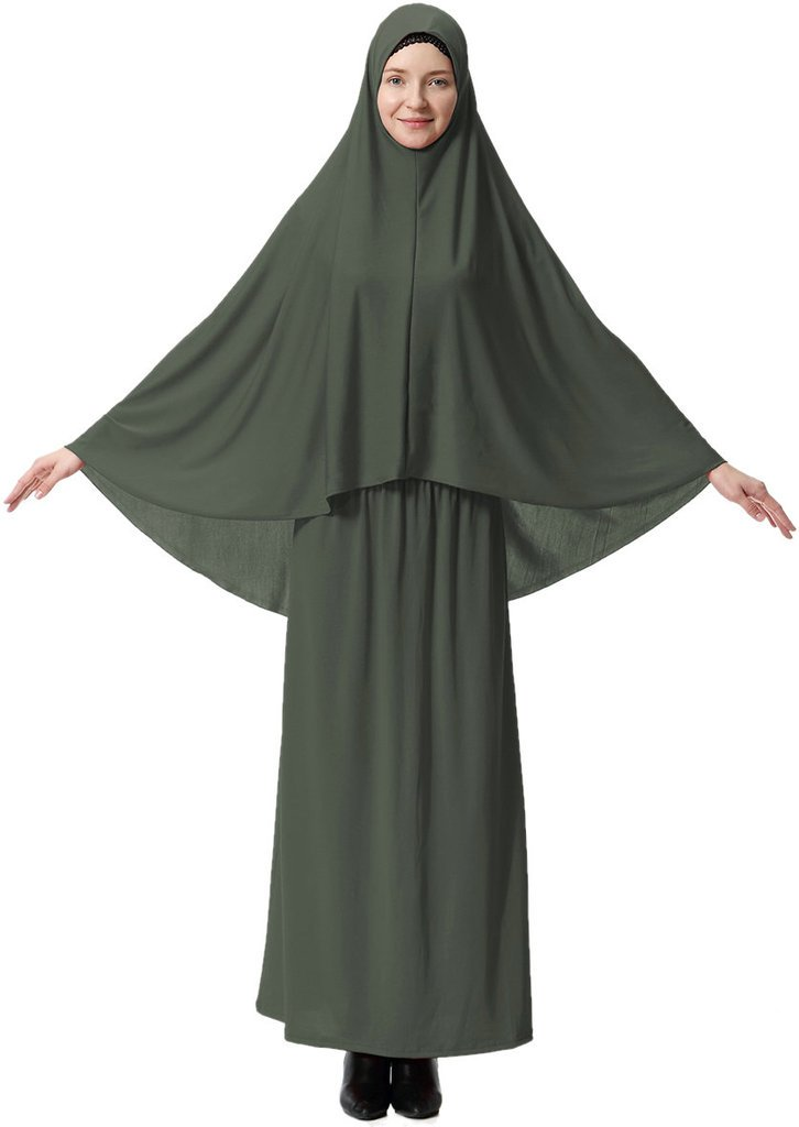 Ababalaya Women's Muslim Large Overhead Hijab Abaya Jilbab Islam Prayer Dress for Hajj Umrah,Army Green,Tag XL=US Size 6-12
