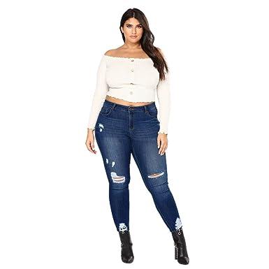 promotion spéciale beau lustre qualité DODUMI Slim Jeans, Jeans Femme Grande Taille Jeans Femme Taille Haute Slim  Grande Taille Jeans Slim Skinny Jean Slim Taille Haute Déchirée Pantalon ...