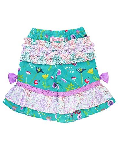RuffleButts Girls Floral Print Ruffled Capri Pants - Sweet Meadow - 6 (Capris Satin Girls)