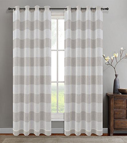 Urbanest 54-inch by 96-inch Set of 2 Nassau Faux Linen Sheer Striped Curtain Panels with Grommets, Oyster