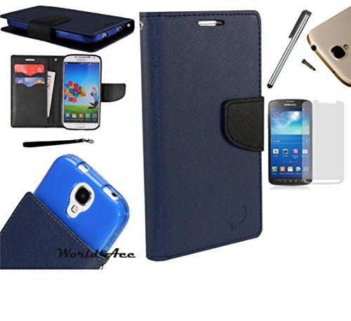 Photo - For Microsoft Lumia 550 Phone Case PU Leather Flip Cover Folio Book Style Pouch Card Slot Wallet + [WORLD ACC®] LCD Screen Protector+ Stylus (Navy Blue/Black)