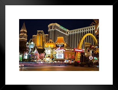Hotel Photo Vegas Las - Poster Foundry Las Vegas Nevada Strip Illuminated at Night Venetian Palazzo Hotels Photo Art Print Matted Framed Wall Art 26x20 inch
