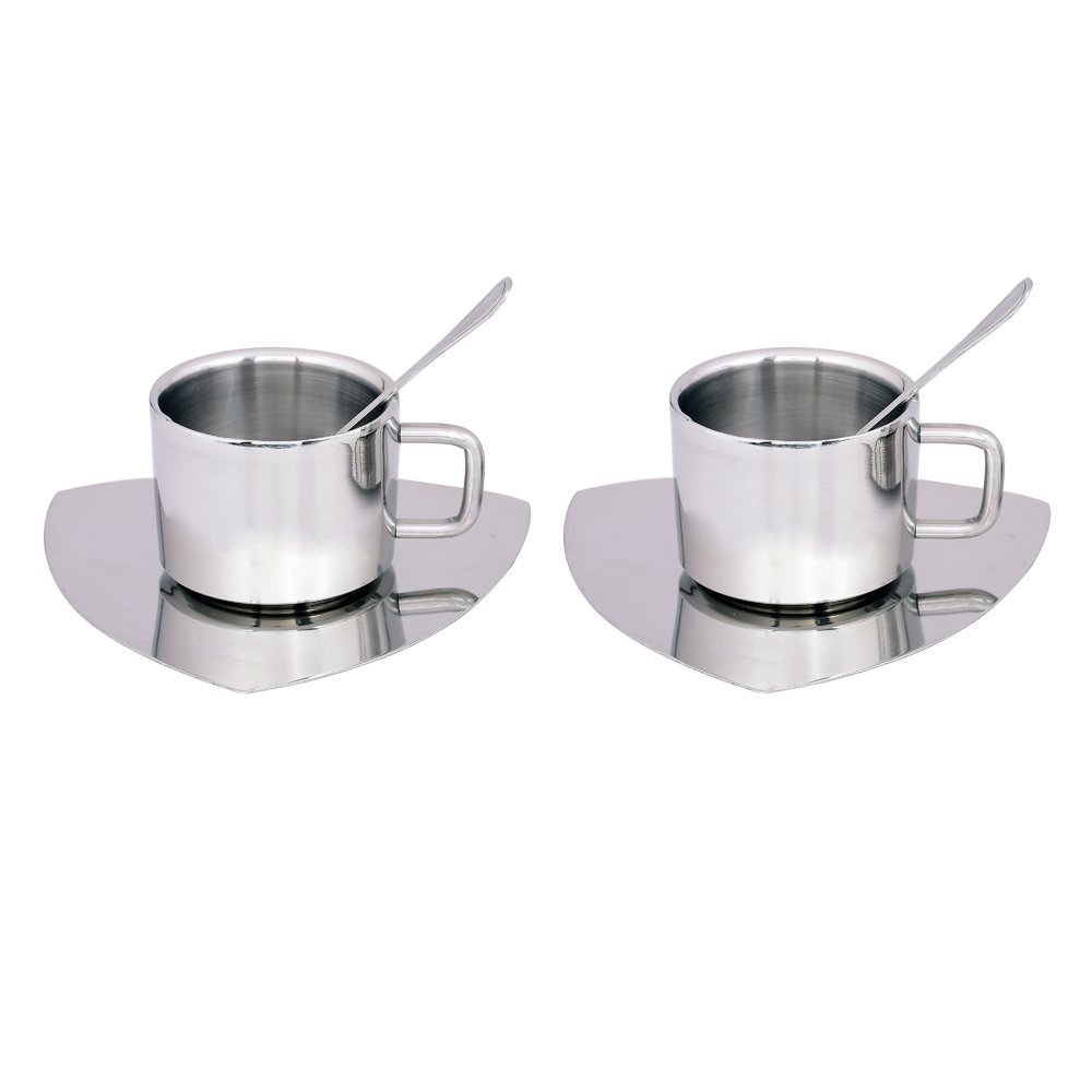 Kosma Set of 6pc Stainless Steel Double wall Coffee Cup | Espresso | Tea Cup 100ml with Triangular Saucer & Tea Spoons (2 Cups, 2 Saucer, 2 Spoons)