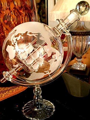 Wine Savant Whisky & Wine Sail Ship Etched Globe Spirits Decanter