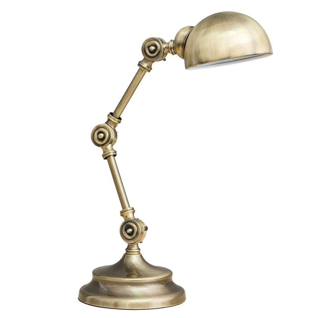 ROLLFFL 枕元の卓上スタンド、ミニマリストの金属の卓上スタンド枕元の卓上スタンド、折り畳み式の簡単な電気スタンド、金属の陰が付いているナイトテーブルランプ (Color : Brass) B07T62FZJ1 Brass