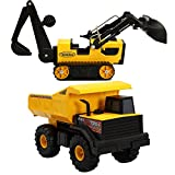 Tonka Classic Mighty Dump Truck and Steel Trencher Kids Play Vehicle Toys