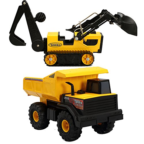 Tonka Classic Mighty Dump Truck and Steel Trencher Kids Play Vehicle Toys by ..Tònka