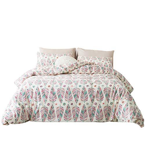 YuHeGuoJi 3 Pieces Bohemia Duvet Cover Set 100% Cotton King Size Geometric Bedding Set with Zipper Ties 1 Pink Boho Exotic Design Duvet Cover 2 Pillowcases Luxury Quality Soft Comfortable Durable