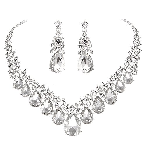 Youfir Bridal Rhinestone Crystal V-Shaped Teardrop Wedding Necklace and Earring Jewelry Sets for Brides Formal Dress(Clear) Beautiful Austrian Crystal Rhinestone Necklace