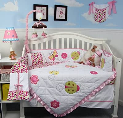 SoHo Little Lady Baby Crib Nursery Bedding Set 13 pcs included Diaper Bag with Changing Pad & Bottle Case from SOHO DESIGNS