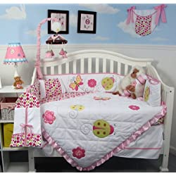 SoHo Little Lady Baby Crib Nursery Bedding Set 13 pcs included Diaper Bag with Changing Pad & Bottle Case Pink and White