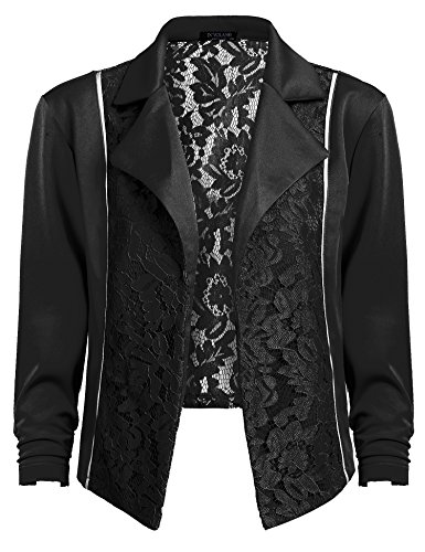 Patchwork Womens Shorts - IN'VOLAND Women's Plus Size Lace Patchwork Short Blazer 3/4 Sleeve Open Front Cardigan Jacket(12W-20W)