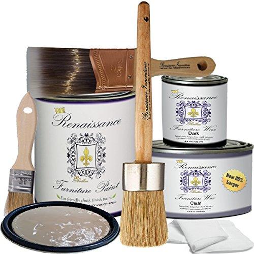(Retique It by Renaissance Chalk Furniture Paint Deluxe Starter Kit - 32oz Paint/13oz Clear Wax/4oz Dark Wax/2