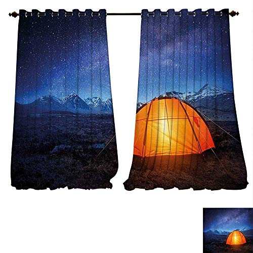 Thermal Insulated Blackout Grommet Curtain Camper A Tent Glows under Night Sky Full of Stars Exploring Universe Life Picture Dark Blue Orange Drapes for Living Room (W96 x L84 -Inch 2 Panels) -