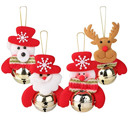 (Wmbetter 8 Pcs Christmas Bell Ornament Hanging Christmas Bells Decoration Xmas Tree Ornaments Include Santa Claus/Jingle Bell/Snowman)