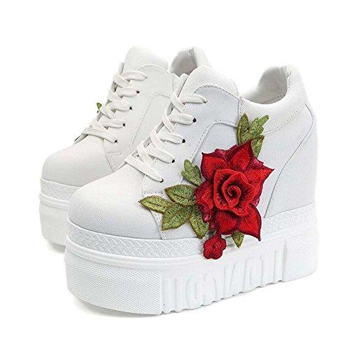 Tamaño Planos Mujeres Zapatos de Zapatos de Rojo Talón Las Cómodos Ocasionales Salvaje 35 Blanco Negro atléticos la del 12cm 39 Blanco Cuña del wFHAq