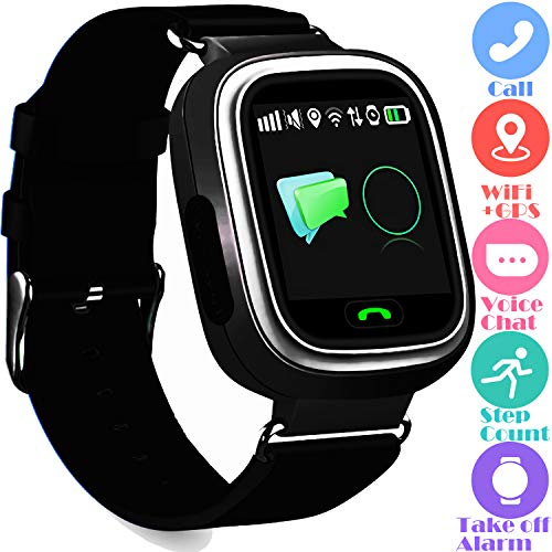 Kids GPS Tracker Watch Phone - WiFi GPS LBS Positioning Locator Touch Screen Childrens Wristwatch with Call Intercom Pedometer Take-Off Sensor Alarm Thanksgiving Gift for Girls Boys