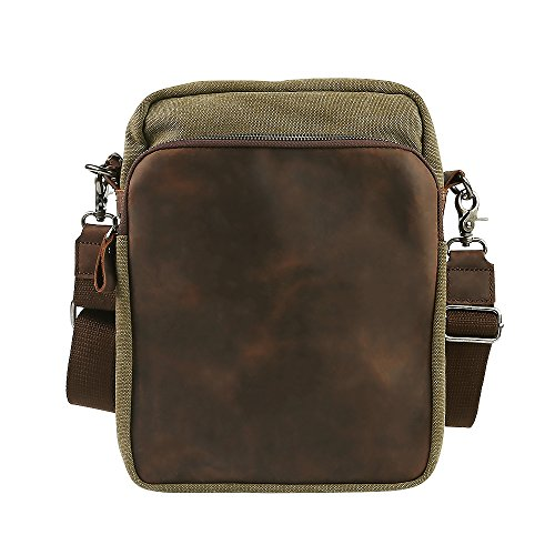 Travables Unisex Retro Vintage Leather Canvas Messenger Crossbody Bag (Army Green)