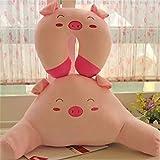 Soft Cute Cartoon Animals Design Warm Plush Cotton Lumbar Support Waist Back Rest Pillow for Car Sofa Bed (Pink Pig)