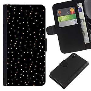 [Neutron-Star] Modelo colorido cuero de la carpeta del tirón del caso cubierta piel Holster Funda protecció Para Sony Xperia Z3 D6603 [Lunares de la estrella Cielo Negro Punk Dots]