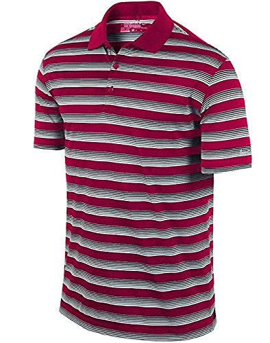 Nike Golf Men's Tech Core Stripe Polo Shirt 818048 (Medium, Fireberry/Black/White) ()
