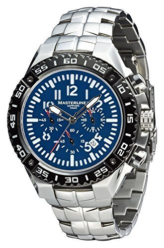 Masterline1966 reloj de aviador para hombre con cronógrafo 100 M cristal zafiro macizo azul ML06117007