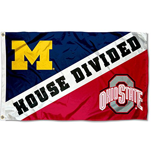 College Flags and Banners Co. Ohio State vs. Michigan House Divided 3x5 Flag