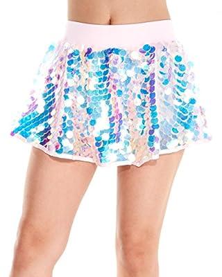 iHeartRaves Women's Party Monster Sequin Mini Skirt (Pink)