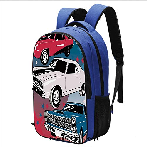 Classical Basic Travel Backpack For School Pop Art Stylized Group of Nostalgic American Muscle Cars with Stars Antique Print School Bags Student Stylish Book Bag Daypack for Teenagers Boys and Girls,