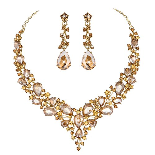 (Youfir Bridal Austrian Crystal Necklace and Earrings Jewelry Set Gifts fit with Wedding Dress(Champagne))