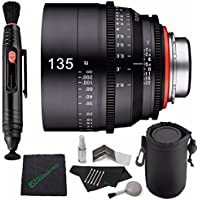 Rokinon Xeen 135mm T2.2 Lens with Canon EF Mount MFR # XN135C + Microfiber Cleaning Cloth + Lens Pen Cleaner + 5 piece Lens Cleaning Kit + SLR Lens Pouch Bundle