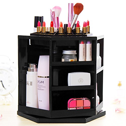 Personal Makeup Case Professional Multi-Slot Rotating Organizer Cosmetic Brush Holder Accessory Display Lipstick Storage Women Box Nail Polish Rack Beauty Tools Container.