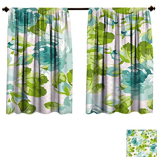 Block China Rose Garden (Qianhe-HOME Window Curtain Fabric Shabby Chic Tropical Botany Garden Theme Blue Roses Leaves Bouquets Turquoise Green Light Pink Drapes Living Room (W72 x L84 -Inch 2 Panels))