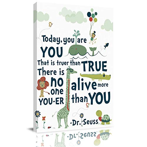 Halloween Dr. Seuss Quotes (Luck Sky Art Life Design Canvas Wall Decor Dr. Seuss Cat in Hat Quotes Modern Artwork Pictures Prints 36x24in Framed by Wood, Ready to)