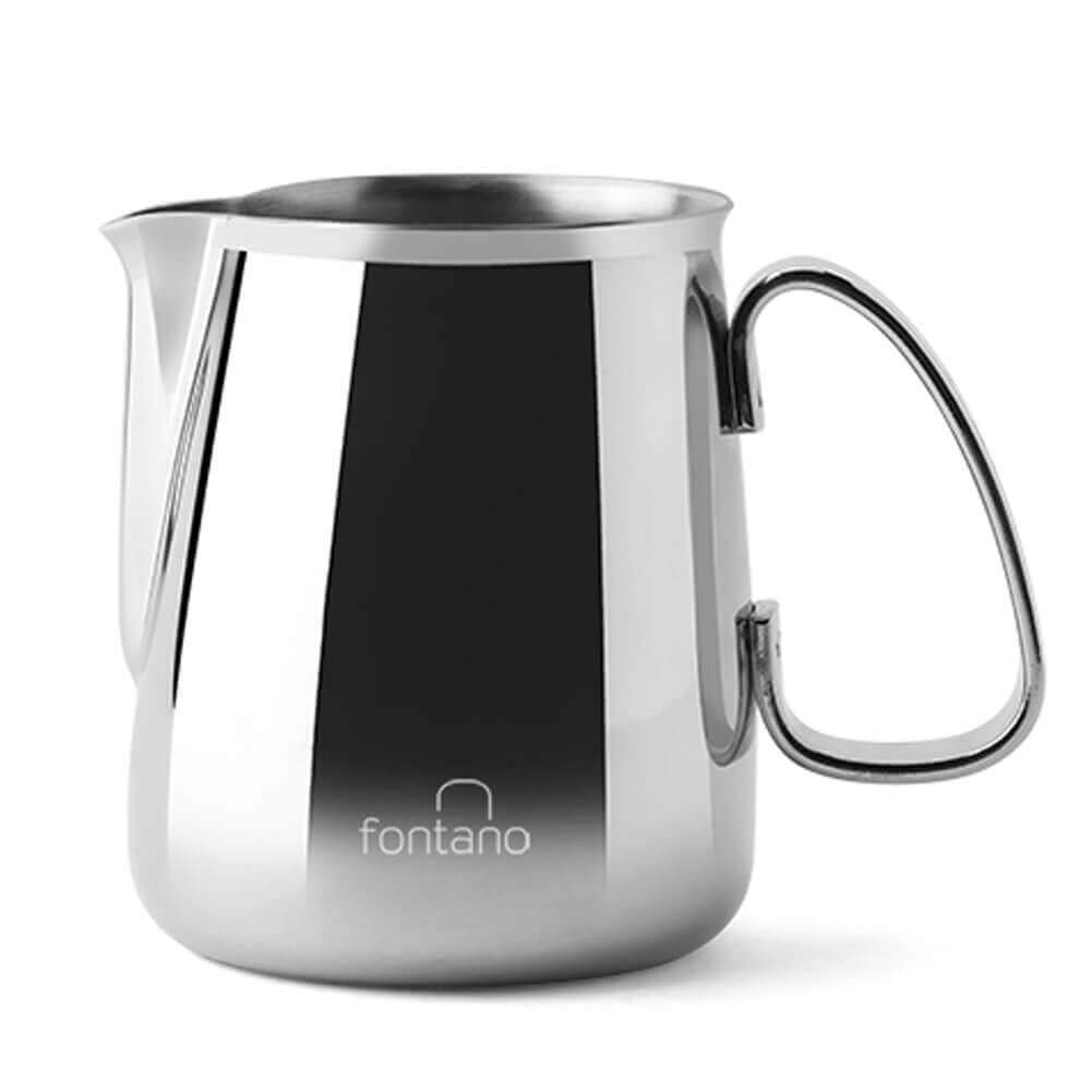 Fontano Milk Frothing Pitcher Professional Latte Art Milk Steaming Jug Stainless Steel, Silver (300ml / 10oz)