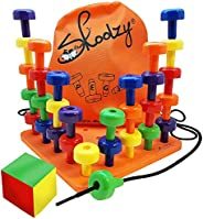 Skoolzy Peg Board Set - Montessori Toys for Toddlers, Preschool Kids | 30 Lacing Pegs for Learning Games, Dice