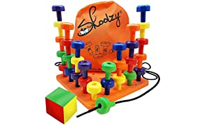 Skoolzy Peg Board Set - Montessori Toys for Toddlers, Preschool Kids | 30 Lacing Pegs for Learning Games, Dice Colors Sorting Counting - Occupational Therapy Fine Motor Skills Activity Pegboard EBook
