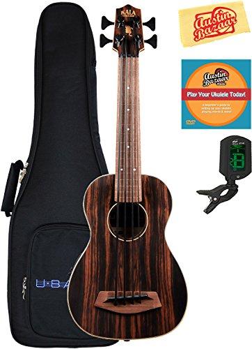 Kala U-Bass-EBY-FL Striped Ebony Fretless Acoustic-Electric U-Bass Ukulele Bundle with Gig Bag, Tuner, Austin Bazaar Instructional DVD, and Polishing Cloth