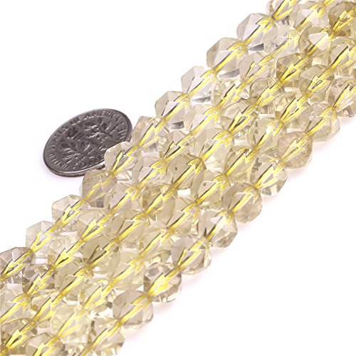 "Joe Foreman Lemon Quartz Crystal Beads for Jewelry Making Gemstone Semi Precious 8mm Faceted 15"""