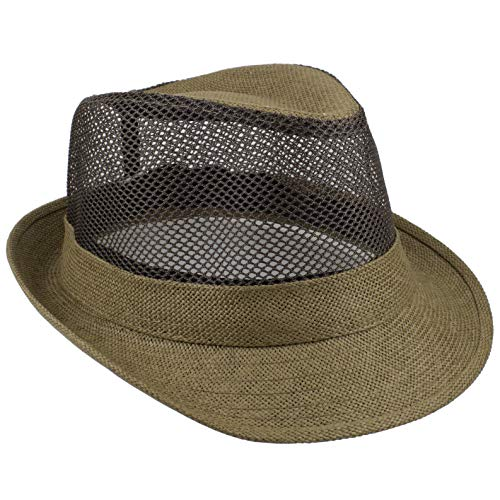 Gelante Summer Fedora Panama Straw Hats with Black Band (Large/X-Large, Olive Mesh)
