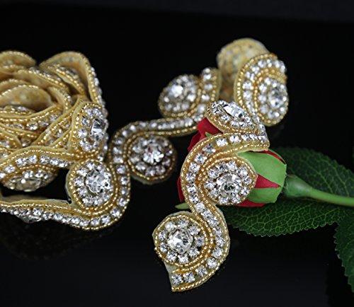 Gold Rhinestone Trim Applique Rhinestone Embellishment Beaded Applique (Gold Beaded Applique)