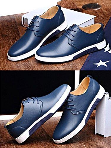 Moda Piatte Affari Tempo Mocassini Libero Commerciali Uomo Sneakers B Pelle Blu di Scarpe Minetom Casual Eleganti HTwvqT8