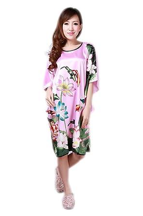 JTC Womens Classic Lotus Fish Kimono Yukata Lingerie Robe Sleepwear Dress  Pink  Amazon.co.uk  Clothing 8fbe628db