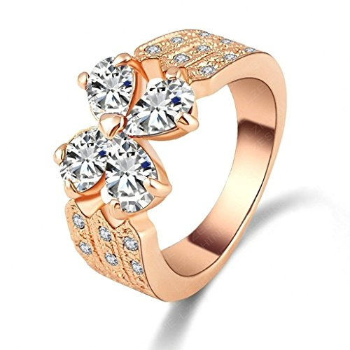 Comfort Fit Cathedral Solitaire (Daesar Rose Gold Plated Rings Womens Flower Cubic Zirconia Rings Promise Rings Size)