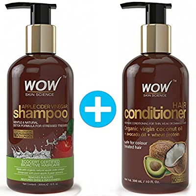 COMBO: WOW Apple Cider Vinegar Shampoo (300 ml - Sulphate & Paraben Free) + Wow Hair Conditioner (300ml - Sulphate & Paraben Free)
