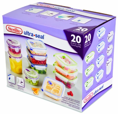 Sterilite 03068602 Ultra Seal Food Storage 20-Piece Set, 2-P