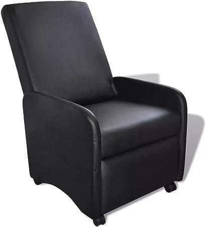 vidaXL Fauteuil inclinable et Pliable en Cuir Artificiel Noir Fauteuil de Relaxation
