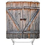 Vintage Rustic Wood Theme Polyester Fabric Shower Curtain, Country Decor Old Wooden Garage Door American Country Style Decorations for Bathroomc Print,Home Antiqued Look