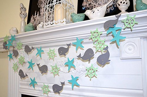 Whale-baby-shower-wheel-starfish-garland-wedding-garland-nautical-bridal-shower-baby-shower-nautical-theme-star-fish-mint-teal-gray-whale