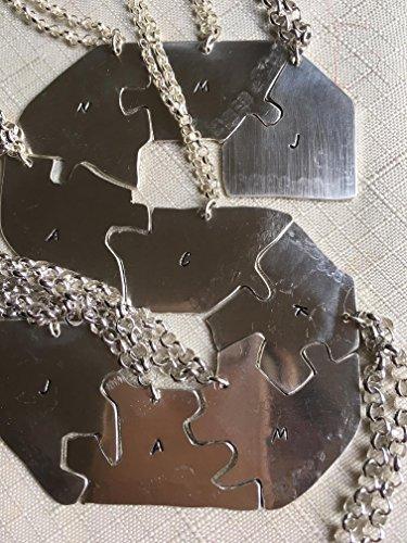 Letter puzzle piece necklace, 4 piece puzzle set, 4 Best Friends puzzle necklace set, Hand Stamped Names Necklace gift for friends